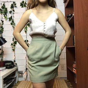 Vintage wool pale green high waisted mini skirt